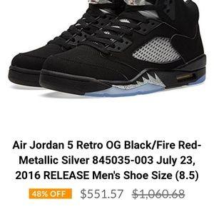 4c7d0483de3c85 Nike Shoes - Air Jordan 5 Retro OG Black Fire Red sneaker
